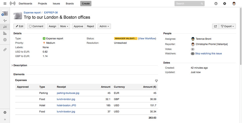 Track expenses Checklist panel Jira issue view