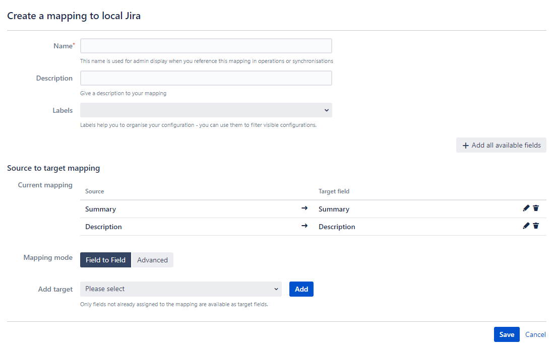 Configure Local Jira field mapping