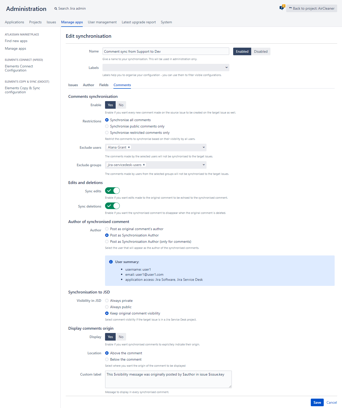 Jira Comments Synchronization with Copy and Sync