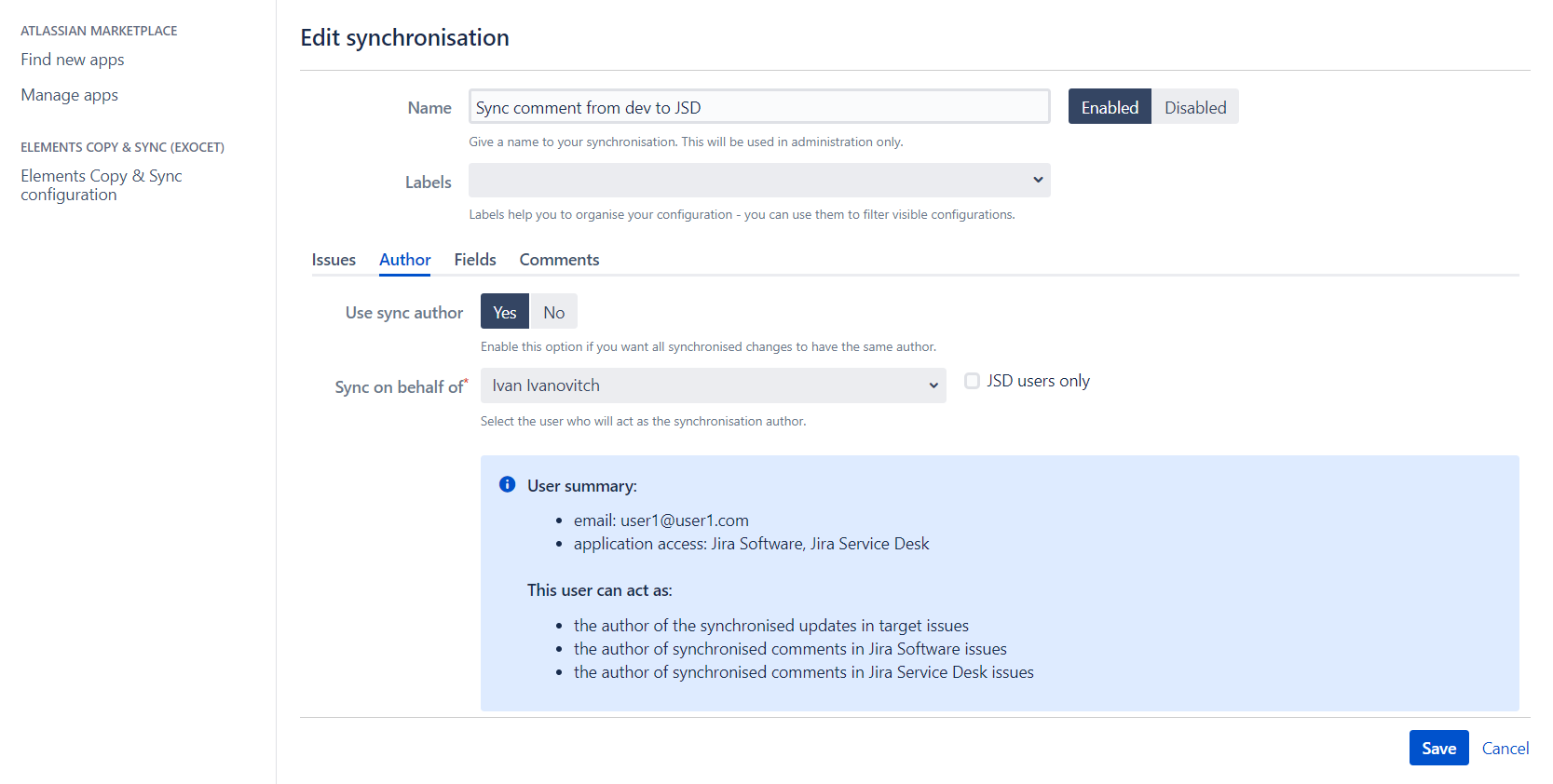 Synchronize comments from Jira to JSD
