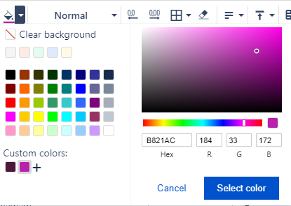 Custom colours for text and background